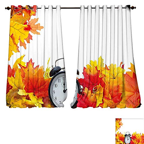 fengruiyanjing-Home Blackout Curtain Set Clock Autumn Leaves and an Alarm Clock Fall Season Theme Romantic Digital Print White and Orange Comfort Spaces (W72 x L107 -Inch 2 Panels)