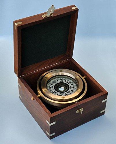 Brass Gimbaled Modern Nautical Sailboat Compass w/ Hardwood Case by Brass Binnacle