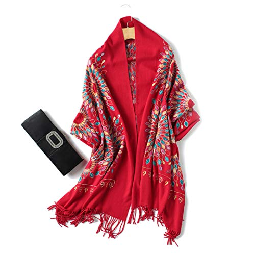- Winter Scarf For Women Vintage Embroidery Thick Warm Cashmere Scarves Shawls And Wraps red