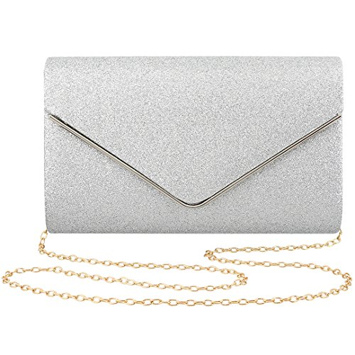 Gabrine Womens Evening Envelop Bag Handbag Clutch Purse Shiny Sequins Fabric Material for Wedding Party Prom(Silver)
