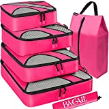 Bagail 4 Set Packing Cubes,Travel Luggage Packing Organizers with Laundry Bag(Fushcia)