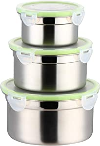 304 Stainless Steel Food Storage Lunch Box Containers Eco-Friendly & Reusable Snack Food Leak Proof Nesting Containers for Kids & Adults | Set of 3 Metal Lunch Sandwich Container, Snack Boxes