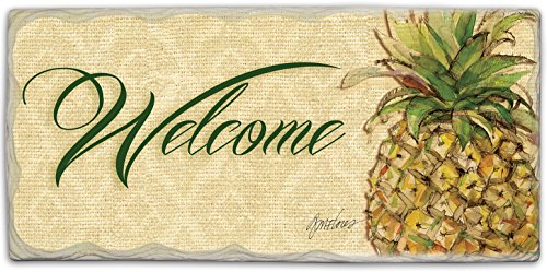 Pineapple Tile (CounterArt Stoneware Sign, 8-1/2 by 4-Inch, Pineapple Welcome)