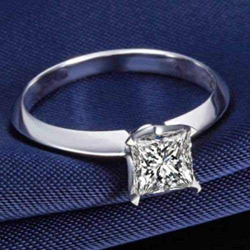 Princess Cut Moissanite Engagement Ring 14k White Gold Palladium Platinum Solitaire Handmade Diamond Ring Anniversary Ring Forever One