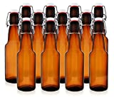 12 oz Swing Top Beer Bottles - Grolsch-Style Flip Top Glass Bottles for Home Brewing Beer, Kombucha and More (Amber, Case of 12)