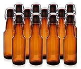 12 oz Swing Top Beer Bottles - Grolsch-Style Flip Top Glass Bottles for Home ...