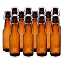 12 oz Grolsch-Style Flip Top Bottles – Swing Top Glass Bottles – Perfect Size for Beer, Kombucha & More – Reusable Home Brewing Bottles (Amber, Case of 12)