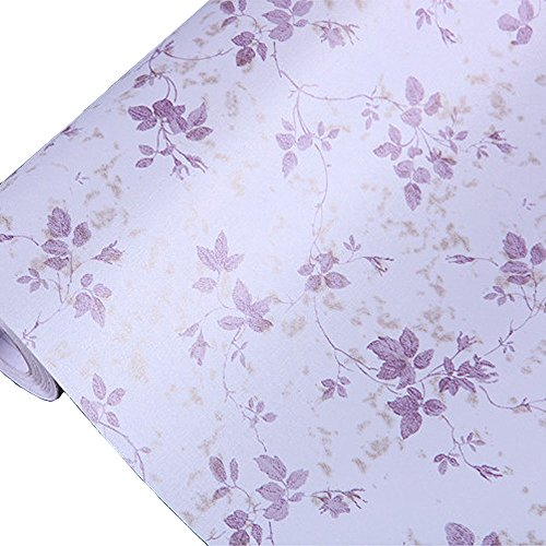 HOYOYO 17x78 Inches Self-Adhesive Shelf Liner, Moisture Proof Drawer Paper Shelf Liner Mildew Proof Antifouling Contact Paper,Purple Leaves (Decorative Contact Paper Purple)