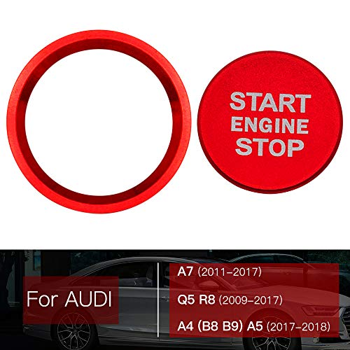 Ceyes Car Engine Start Stop Push Button Auto Ignition Start Button Ignition Switch Button Auto Switch Button Cover Ring Stickers for Audi A7 2011-2017 Q5 R8 2009-2017 A4 B8 B9 A5 2017 2018 - Red