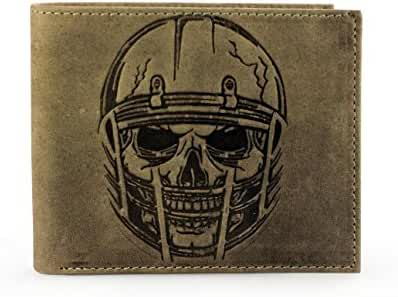 Unique American Football Skull Embossed Distressed Leather Bifold Gothic Slim Wallet