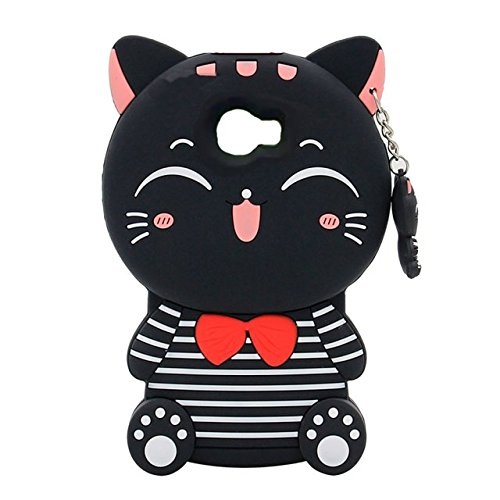 Galaxy A5 2017 Cartoon Silicone Cover,Cute 3D Kitty Lucky Fortune Cat with Strip Design Phone Bag Soft Rubber Case for Samsung Galaxy A5 2017 A520