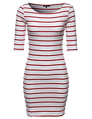 MBE Women's Basic Every Day Boat Neck Stripe 3/4 Sleeve Dress