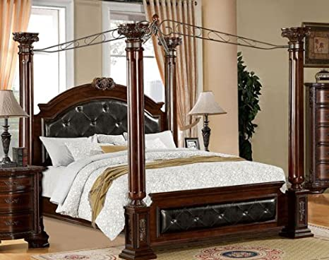 Amazon.com: Mandalay Queen Canopy Bed with Tufted Headboard ...