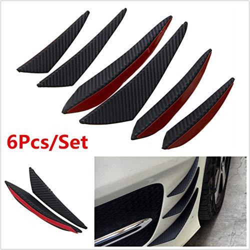 Ponis-Limos - 6pcs Carbon Fiber Look Universal Black Front Bumper Lip Splitter Fin Air Knife Auto Body Side Wing Spoiler For Carfront Bumper ()