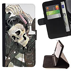 King Air - Premium PU Leather Wallet Case with Card Slots, Cash Compartment and Detachable Wrist Strap FOR Sony Xperia M2 s50h Aqua- Skull Devil Pattern