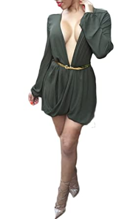 Women Elegant Deep V Neck Long Sleeve Clubwear Asymmetral Casual Party Mini Shirt Dress