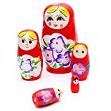 Matushka - TOOGOO(R) 5x Matroshka Babuschka Matryoshka Matushka Matyoshka Russian Wooden Doll Color: Red