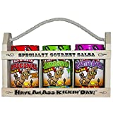 Hells Kitchen Bars Ass Kickin' Salsa Gift Set - In a Wooden Crate! What a great gift idea! One 13 ounce Ass Kickin' Original Salsa, one 13 ounce Salsa From Hell, and one 13 ounce Candy Ass Black Bean & Mango Salsa. Give this gift to your favorite salsa lover and leave a lasting impression!