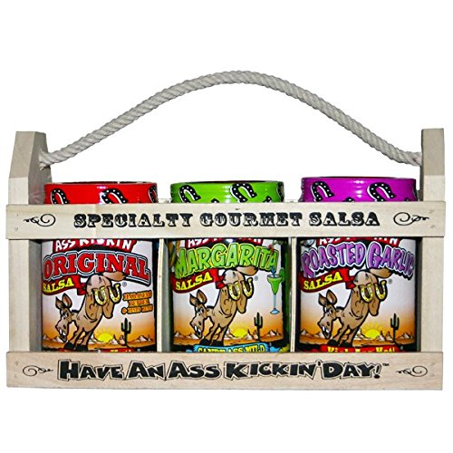 Ass Kickin Salsa Gift Set   In A Wooden Crate  What A Great Gift Idea  One 13 Ounce Ass Kickin Original Salsa  One 13 Ounce Salsa From Hell  And One 13 Ounce Candy Ass Black Bean   Mango Salsa  Give This Gift To Your Favorite Salsa Lover And Leave A Lasting Impression