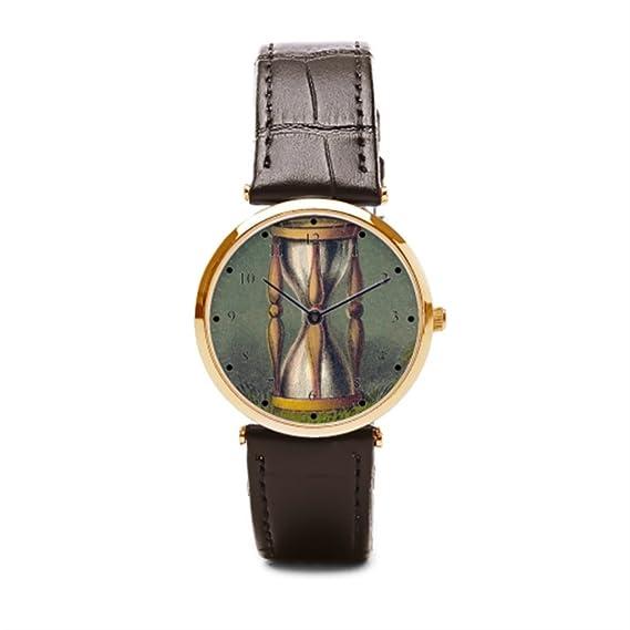 Un ejército reloj de arena (correa de piel correa de piel reloj extraño compañeros de relojes de muñeca: Amazon.es: Relojes