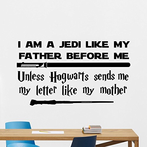 Star Wars Harry Potter Quotes Wall Decal I Am A Jedi Like My Father Before Me Unless Hogwarts Sends Me My Letter Like My Mother Vinyl Sticker Cartoons Boy Kids Wall Art Nursery Decor Mural (Star Wars Cartoon Wall Decals)