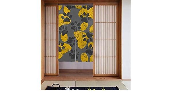 Cortina de puerta para cocina Gato Perro Gris Patas amarillas Huellas Cortinas de dormitorio Cortinas para niños Dormitorio para niños Tipo largo para decoración de puertas de cocina para el hogar 34: