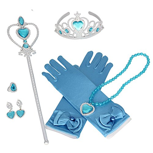 Tdmall Princess Crown Tiara Butterfly Wand Blue Gloves Cosplay Dress up Accessories Set of 5 (Dark Blue)