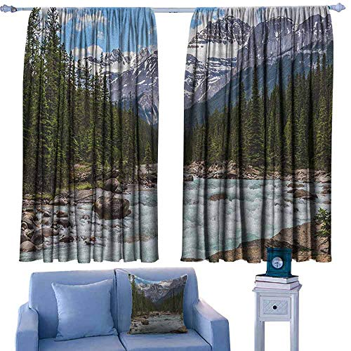 Mannwarehouse Landscape Privacy Curtain Photo of Limestone Creek in The Alberta Cold Winter Time Adventure Image Print 70%-80% Light Shading, 2 Panels,72