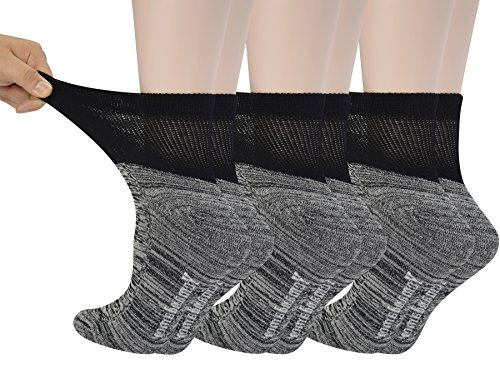 Yomandamor Women's 6 Pairs Bamboo Diabetic Ankle Socks with Non-Binding Top And Cushion Sole,L Size(Socks -