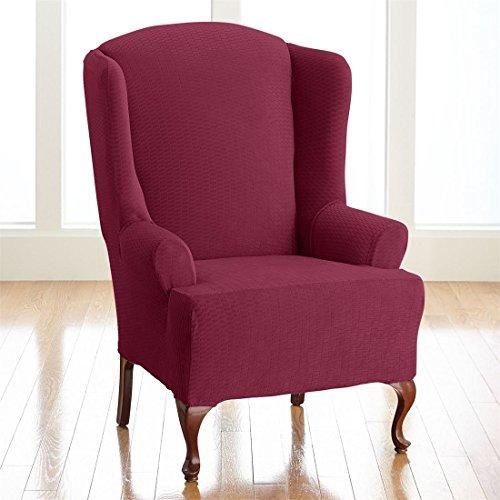 BrylaneHome Bh Studio Brighton Wing Chair Slipcover (Burgundy Wing Chair Slipcover)