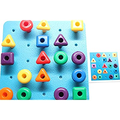 Shape Peg Board Toy - Problem Solving - Pattern Matching Busy Bag with Pegs and Board - Lacing Activity: Toys & Games