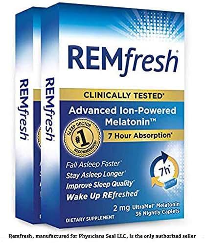 REMfresh 2mg Advanced Melatonin Sleep Aid Supplement, (2 Pack of 36 caps) | Drug-Free, Sleep Aid to Support Restful, Natural Sleep | #1 Doctor Recommended | Pharmaceutical-Grade, Ultrapure Melatonin