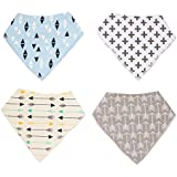 FunYoung 4 x Unisex Baby Bandana Printed Drool Bibs with Absorbent Cotton & Adjustable Snaps for Sprouts Drooling & Teething Stay-dry Infant Boys Girls Feeder Gift (Arrow Grey, Triangle Blue, Arrow Beige, Plus Beige)