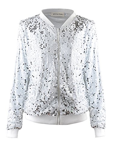 Anna-Kaci Womens Sequin Long Sleeve Front Zip Jacket with Ribbed Cuffs, Silver, Medium