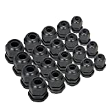 Zilong Black Nylon Waterproof Adjustable 3.5-13mm Cable Glands Joints, PG7, PG9, PG11, PG13.5, PG16, Pack of 20