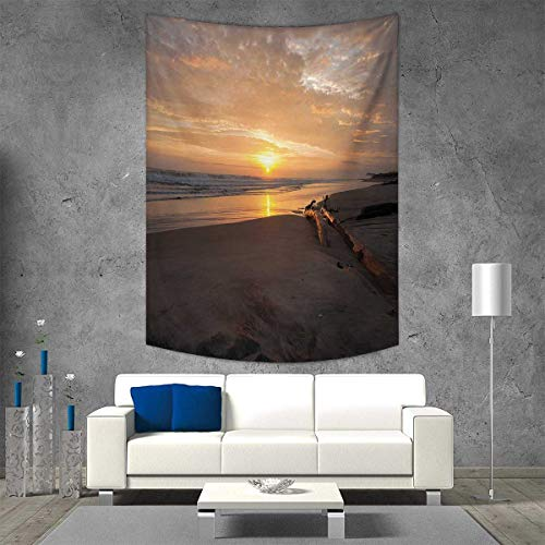 smallbeefly Driftwood Tapestry Table Cover Bedspread Beach Towel Golden Color Sun Rises Over a Distant Horizon Sandy Beach and Driftwood Dorm Decor Beach Blanket 54W x 72L INCH Marigold and Taupe -
