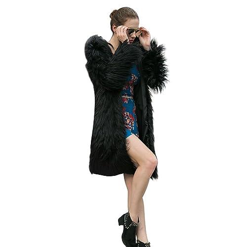 Samber Abrigo Largo con Capucha para Mujer de Pelo Faux Chaqueta de Otoño e Invierno Ropa de Moda