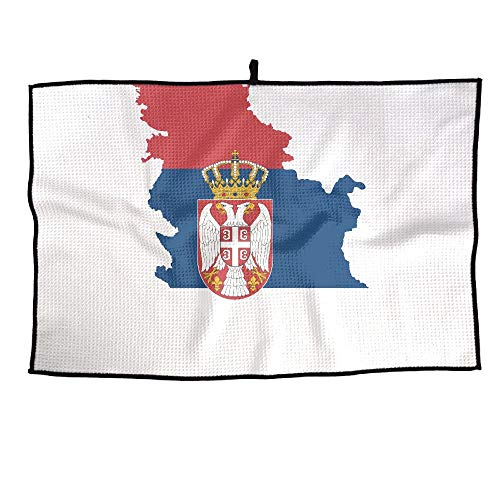 HenSLK Serbia Map Flag Grid Microfiber Cooling Golf Towel Light Weight & Quick Drying & Super Absorbent Sport Travel Towel for Activities (Mlb Personalized Golf Towels)