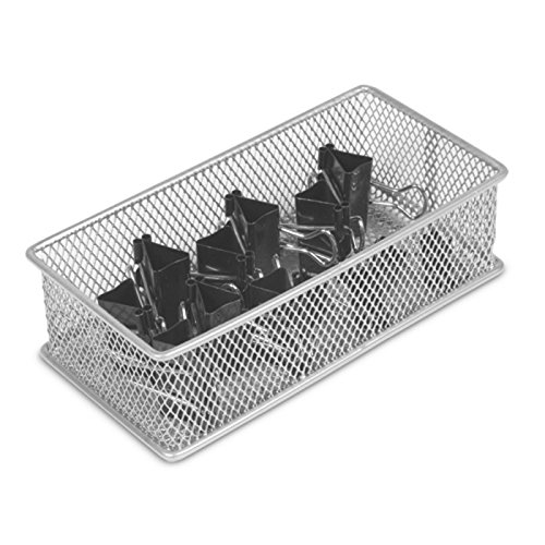 Ybm Home Silver Mesh Drawer Cabinet and or Shelf Organizer Bin, School Supply Holder Office Desktop Organizer Basket 1594 (Mesh Silver Wire)