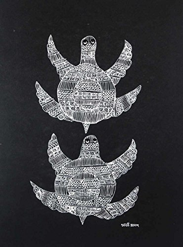 IMI Authentic Black and white Tortoise Pair Gond Wall Hanging by Tribal Artist from MP(Size-10 Inch x 14 Inch x 0.7 Inch), Set of-1 (Curtens Shower)