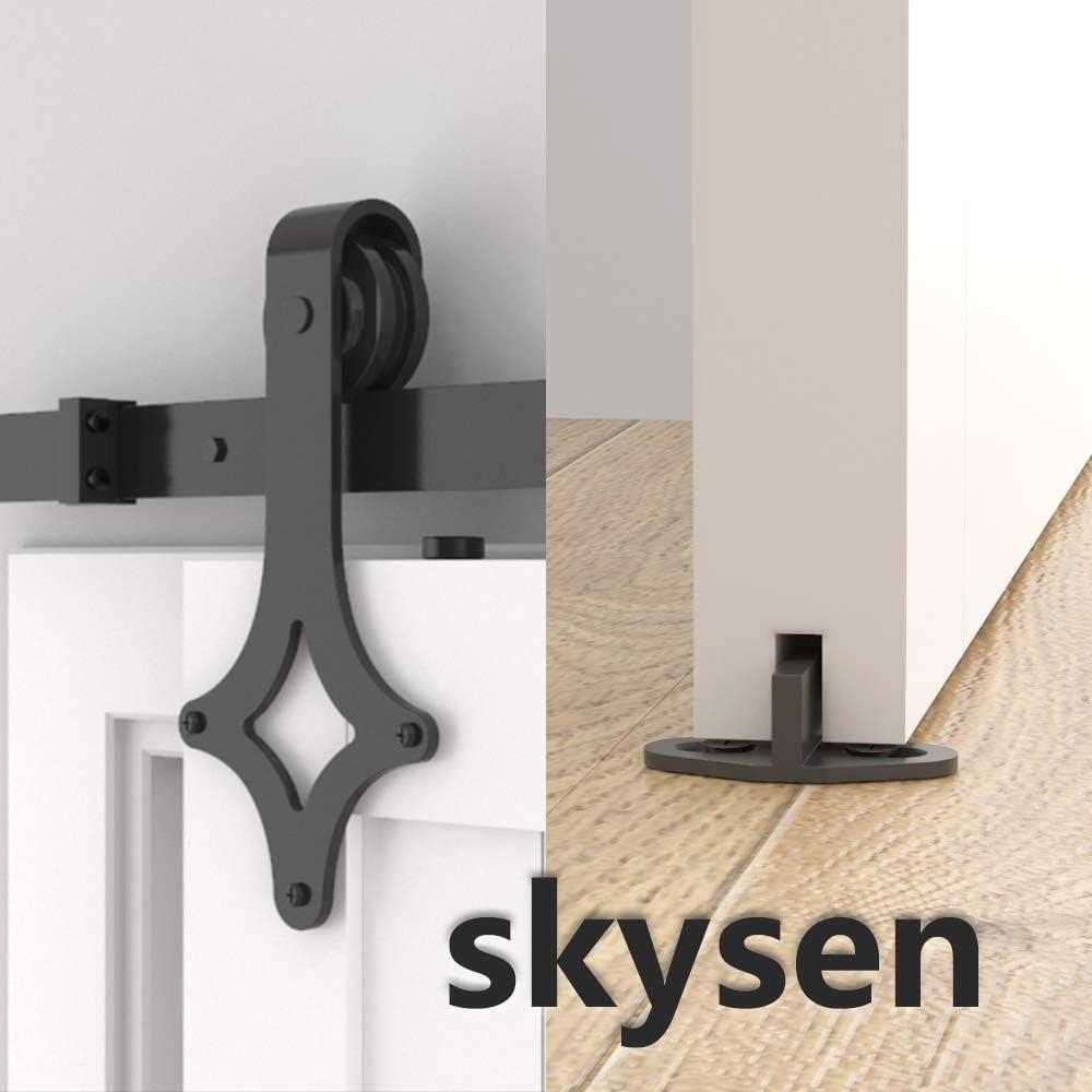Rhombic Shape skysen 10FT Sliding Barn Door Hardware Kit Black
