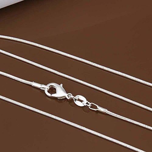 Chaîne pour collier - Plaqué argent sterling 925/00 - Bijou fantaisie haut de gamme - Blanc - Serpent 1mm - 55cm - Cadeau Femme pas cher - Mes Bijoux Bracelets