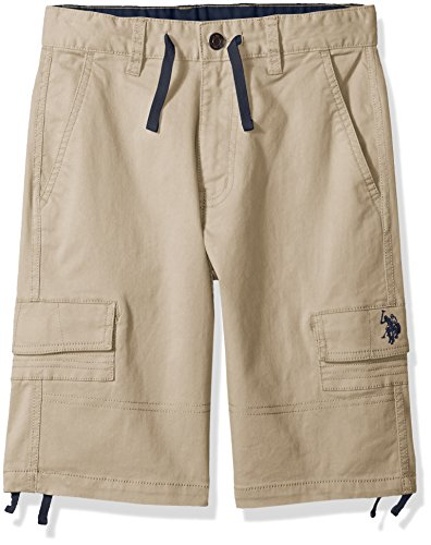 (U.S. Polo Assn. Boys' Toddler Short, Drawstrings Cargo Light Khaki, 2T)