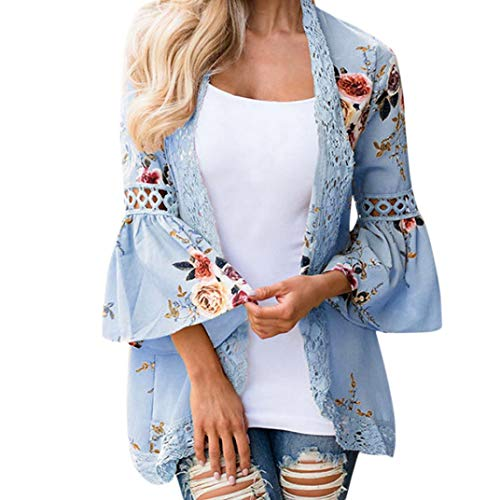 Women's 3/4 Flare Sleeve Floral Sheer Chiffon Kimono Cardigan Cover up Lace Stitching Blouse Top (Sky Blue, L)