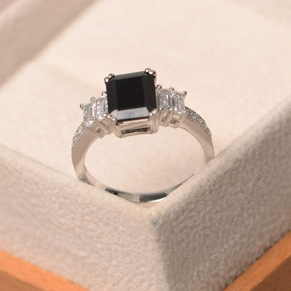 Details about  /Unique Black Spinel Ring Sterling Silver Ring Round Cut Black Gemstone Ring
