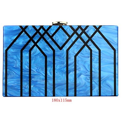 Evening Handbag Box Acrylic Clutch Stripes Shoulder Bag for Party (Black) by KNUS (Image #2)