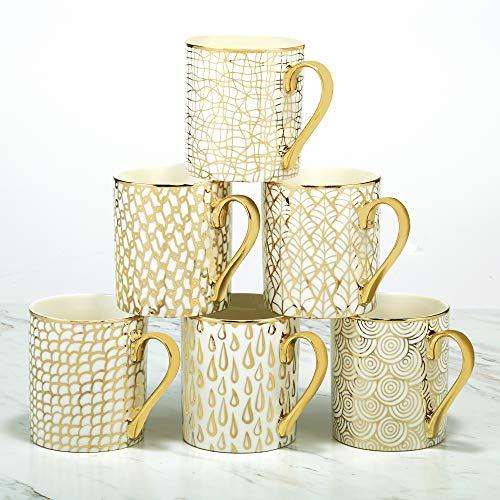 Certified International 26541SET6 Mosaic 14 oz. Gold Plated Mugs, Set of 6, 4.75