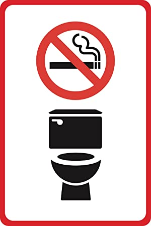 Amazon.com: Aluminum Metal No Smoking Symbol Toilet Bathroom ...