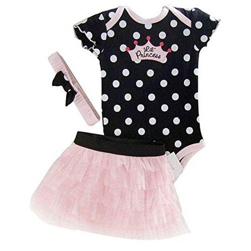 Fanala Fashion Girls 3pcs Dress Set Short Sleeve Jumpsuit + Skirt + HairBand Black 24