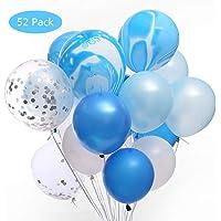 52Pack 12 pulgadas Confeti Globos de látex, Lecone Surtido Globos de látex azules y blancos para bodas Decoración de la fiesta de cumpleaños, Duchas nupciales y para bebés, Telón de fondo, Arco de globos, Azul